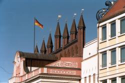 Giebel Rathaus Hansestadt Rostock